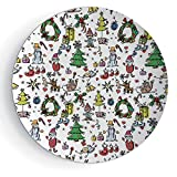 iPrint 7'' Doodle Christmas Concepts Drawn in Cartoon Style Santa Snowman Children Presents Mistletoe Decorative