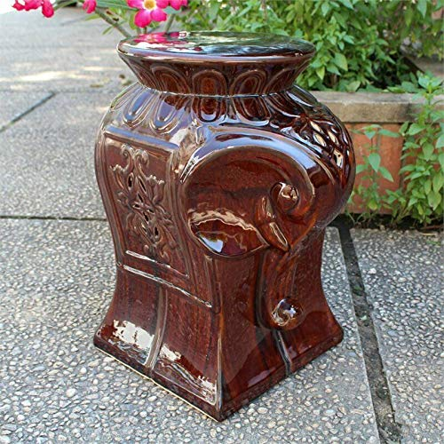 JumpingLight Work SPA Medical Salon Catalina Contemporary Elephant Ceramic Garden Stool in Brown ()