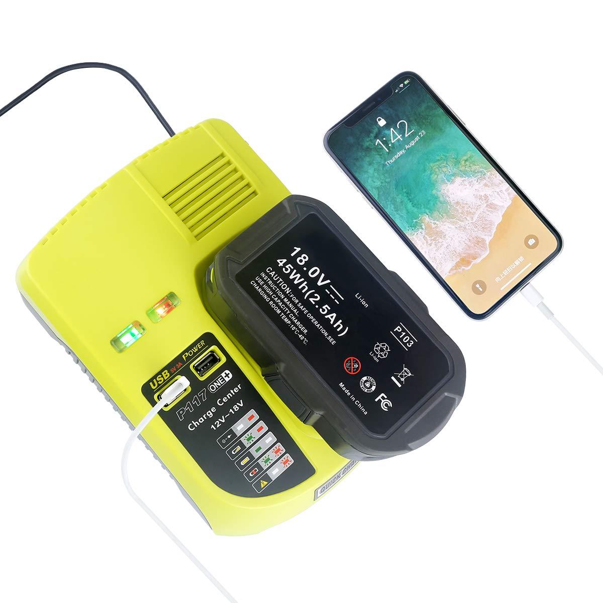 P117 Dual Chemistry IntelliPort Charger Li-ion /& Ni-cad Ni-Mh Battery Charger 12V 18V MAX For Ryobi ONE Plus 2 USB Ports
