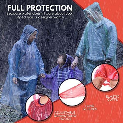 Rain Ponchos for Adults Disposable - 10 Pack w/ Backpack Cover - Poncho for Men, Rain Ponchos for Women - Emergency Poncho Disposable Poncho - Pancho, Panchos Rain Adult - Ponchos Adult, Adult Poncho