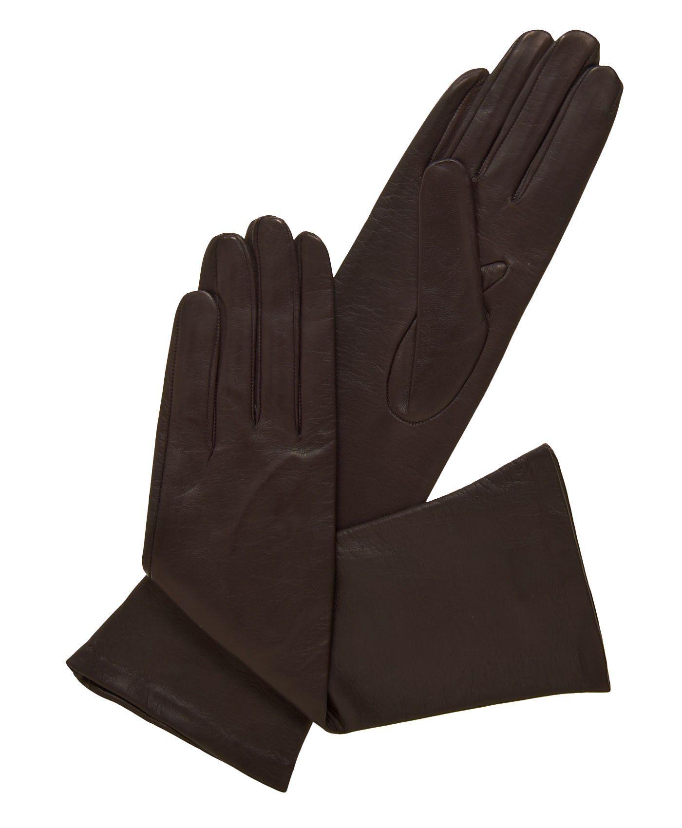 Fratelli Orsini Women's Italian ''6 Button Length'' Silk Lined Leather Gloves Size 8 Color Brown