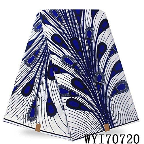 Hollandis Wax African Ankara Fabric Print 6 Yards (Blue) (Black)