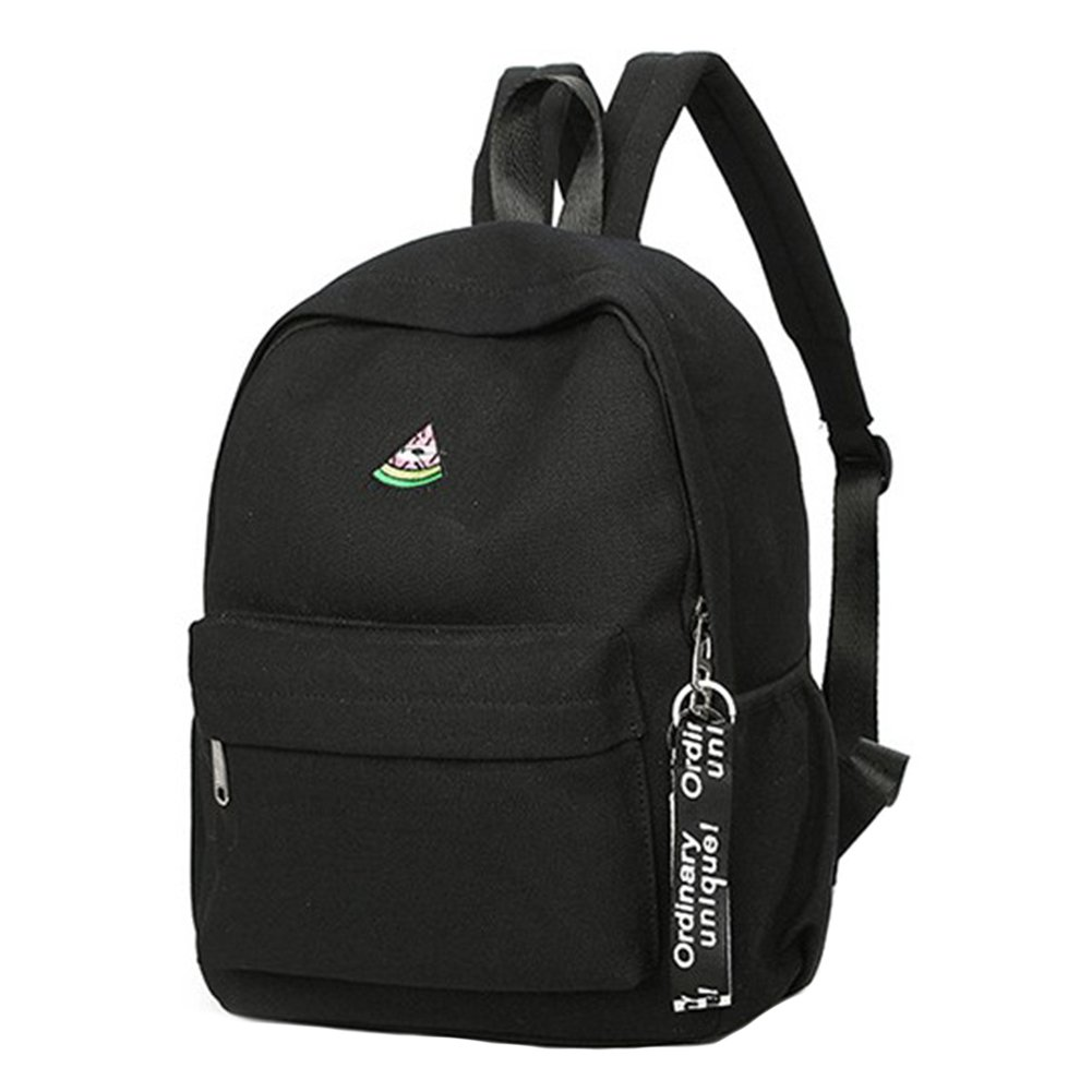 ThinkMax Womens Concise Canvas Printing Backpack Casual Student Schoolbag Girls Travel Bag Rucksack Black