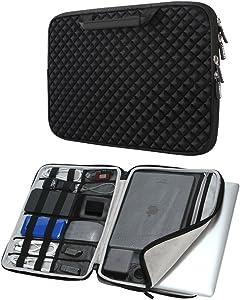 iCozzier 13-13.3 inch Handle Diamond Foam Laptop Sleeve, Shock Resistant Electronics Accessories Storage Handbag/Stylish Travel Organizer Laptop/Ultrabook/Notebook/MacBook – Black