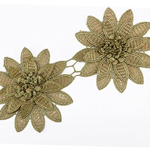 (2yards Gold Metallic 3D Flower Embroidered Motif Lace Cord Trim Venice Venise Applique Trim Sewing Accessories For Bridal Dress Clothes)