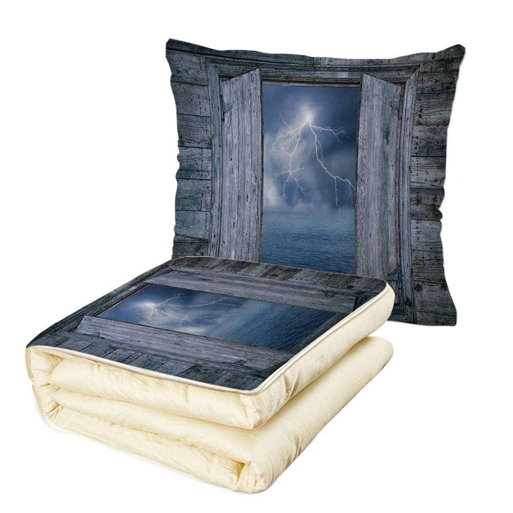 Quilt Dual-Use Pillow Lake House Decor Lightning Bolt at Night from Window in A Seaside House Forces of Nature Theme Decor Multifunctional Air-Conditioning Quilt Blue Grey
