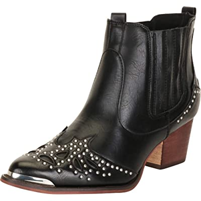 Cambridge Select Women's Western Pointed Toe Crystal Rhinestone Stacked Chunky Heel Ankle Cowboy Boot: Shoes