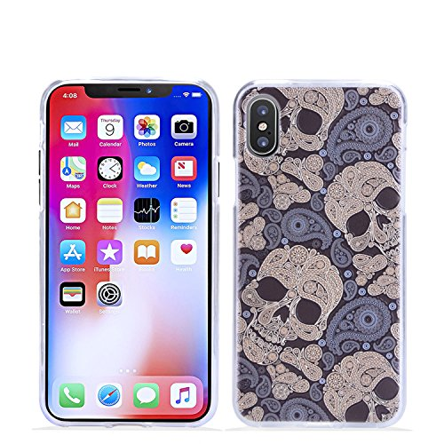 iPhone X Case, KTtwo [Lightweight] [Shockproof] [Scratch Resistant] [Drop Protection] Special 3D Relief Printing Pattern Design Silicone Soft TPU Cover case for Apple iPhone X (Skull) (Case Cover Skull)