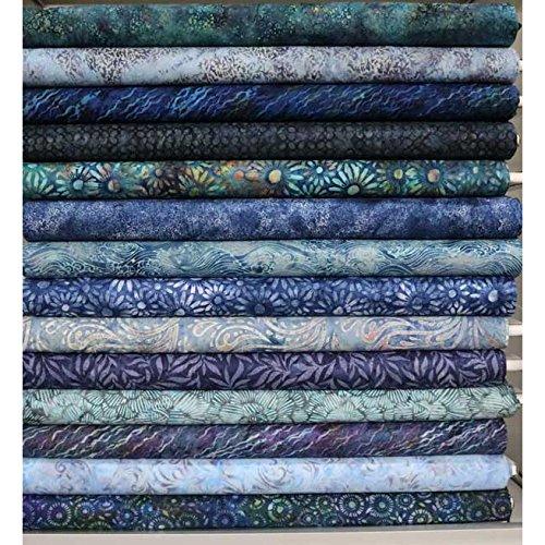 Hoffman Fabrics Bali Batik Hand Dyed Batiks Twelve Fat Quarters Aquatic - Dyed Hand Fabric Batik