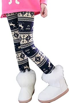 Ugitopi Bambini Ragazze Leggings in Foderati Pantaloni Invernali Lunghi Spessi Stretch Pantalone 140 Tricolor