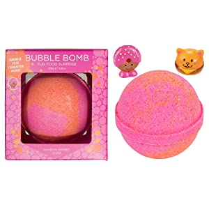 Fun Food Bubble Bath Bomb for Kids with Surprise Collectible Fun Food Figure Inside by Two Sisters. Large 99% Natural Fizzy in Gift Box. Moisturizes Dry Sensitive Skin. Releases Color, Scent, Bubbles.
