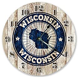 10.5 WISCONSIN STATE RUBBER STAMP CLOCK - Large 10.5 Wall Clock - Home Décor Clock