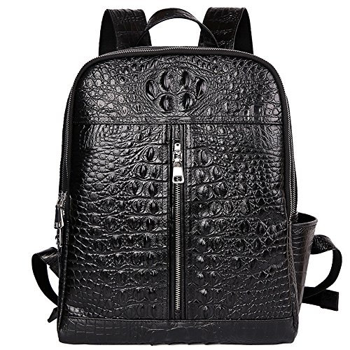 Men's Leather Crocodile Pattern Casual Large Capacity Double Zipper Shoulder Bag (black) by marary