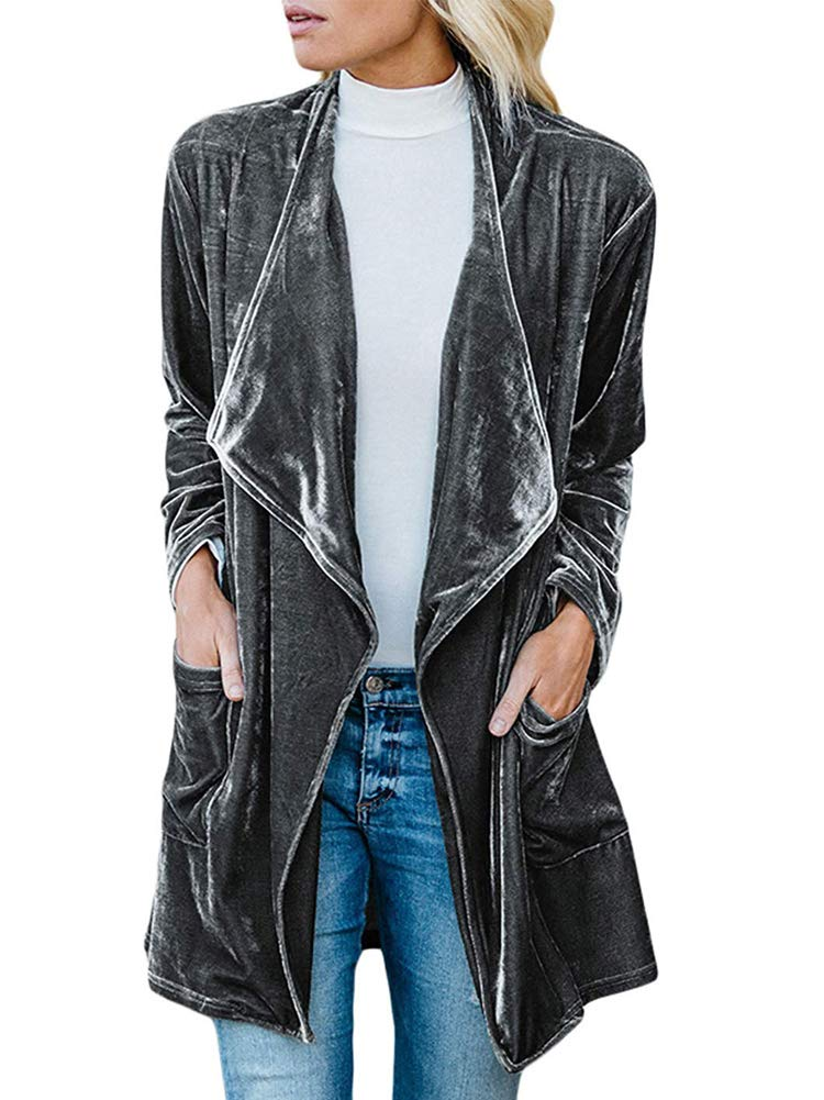 Chatinction Womens Lapel Velvet Drape Jacket Open Front Cardigan Outwear with Pockets.