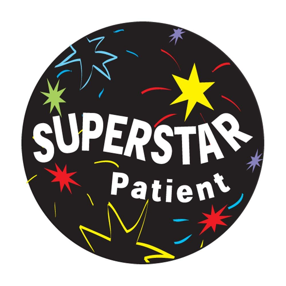 PDC Healthcare 59708878 Label,SUPERSTAR PATIENT, 2'' Circle, Black (Pack of 250)