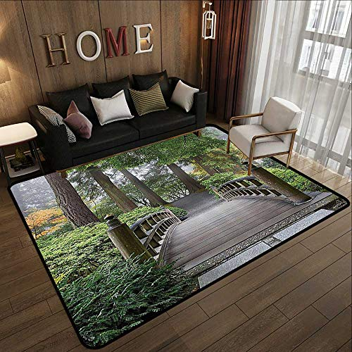 Printed Carpet,Apartment Decor Collection,Foggy Morning Wooden Bridge at Japanese Garden with Various Types of Trees in Autumn,Beige Gr 35