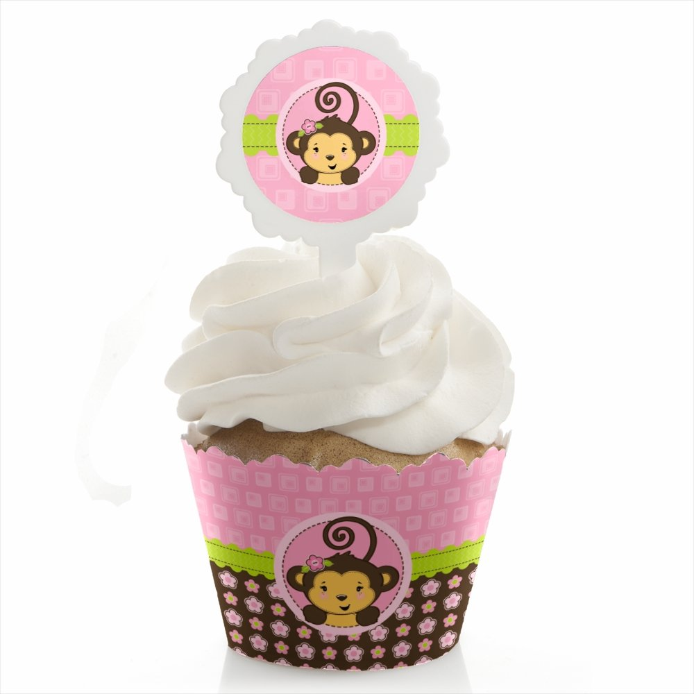 Pink Monkey Girl - Baby Shower or Birthday Party Cupcake Wrapper and Pick - Cupcake Decorating Kit - Set of 24