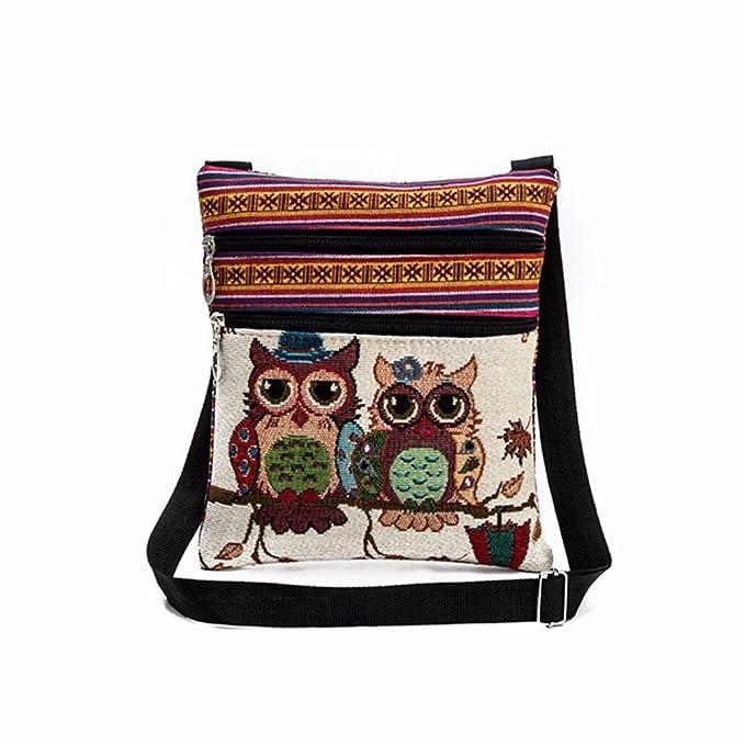 79ff39dd30 VICGREY 🍒 Ricamato Gufo Borsetta Borsa Donna Tracolla Borsa Portatile  Doppia Cerniera Stampa Elegante Messenger Bag (A): Amazon.it: Abbigliamento