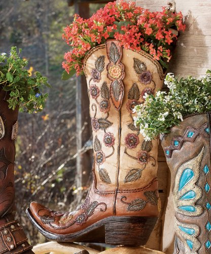 Flower Cowboy Boot Vase - Western Decor