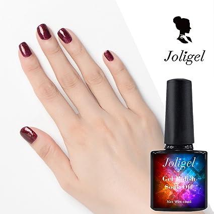 Joligel 2019 Smalto Per Unghie Gel Rosso Bordeaux Con Glitter Dorati