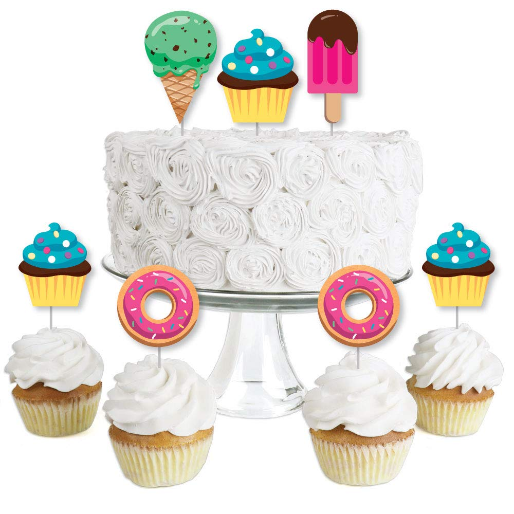 Sweet Shoppe Candy and Bakery Birthday Party or Baby Shower Clear Treat Picks Set of 24 Dessert Cupcake Toppers