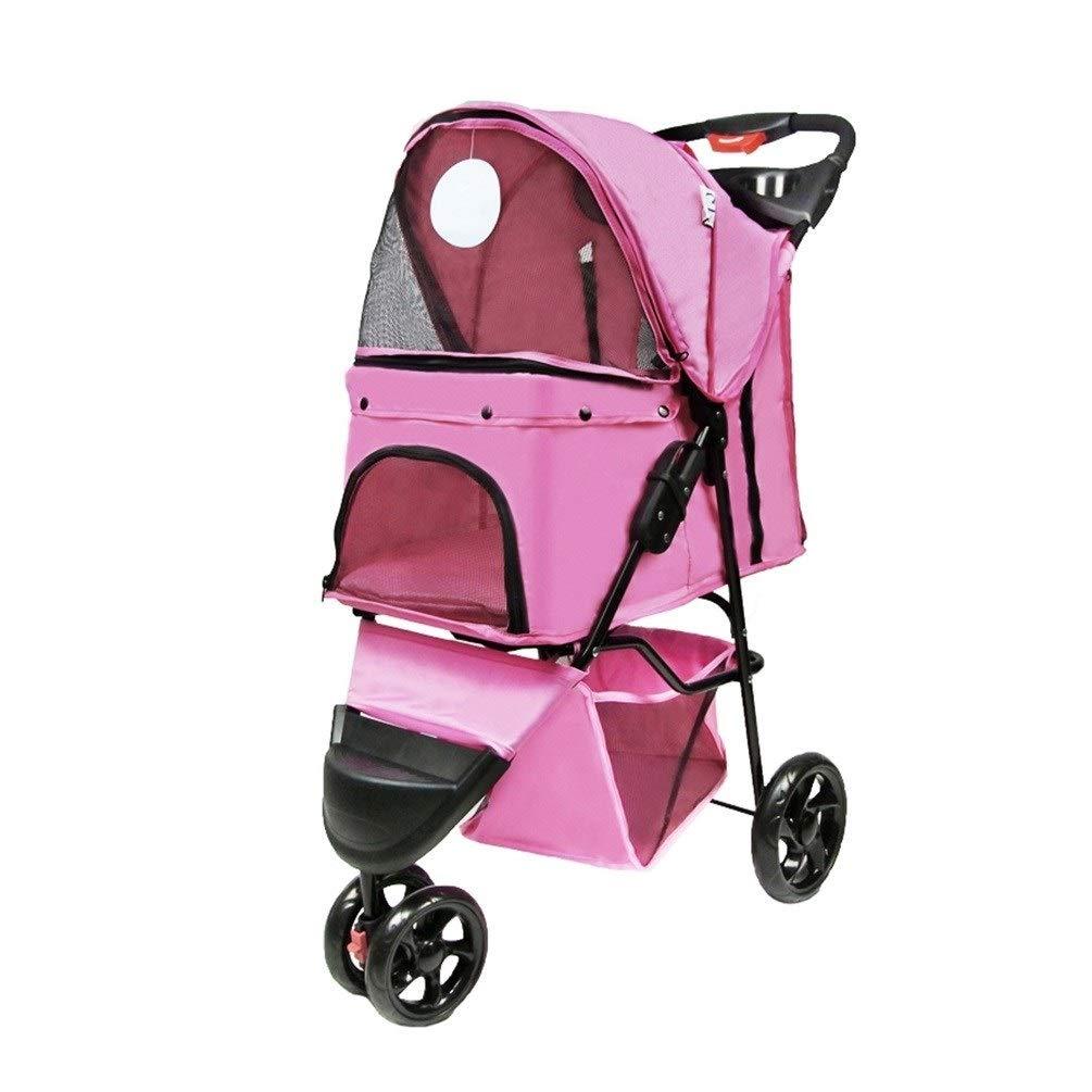 E Dog Pushchair, Stroller Pram Carrier Outdoor Travel Folding Trolley 3 Wheels Puppy Jogger Carts (color   E)