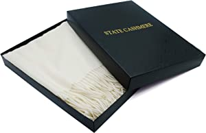 State Cashmere 100% Pure Cashmere Throw Blanket with Fringes Ultimately Soft and Warm (Ivory, One Size)