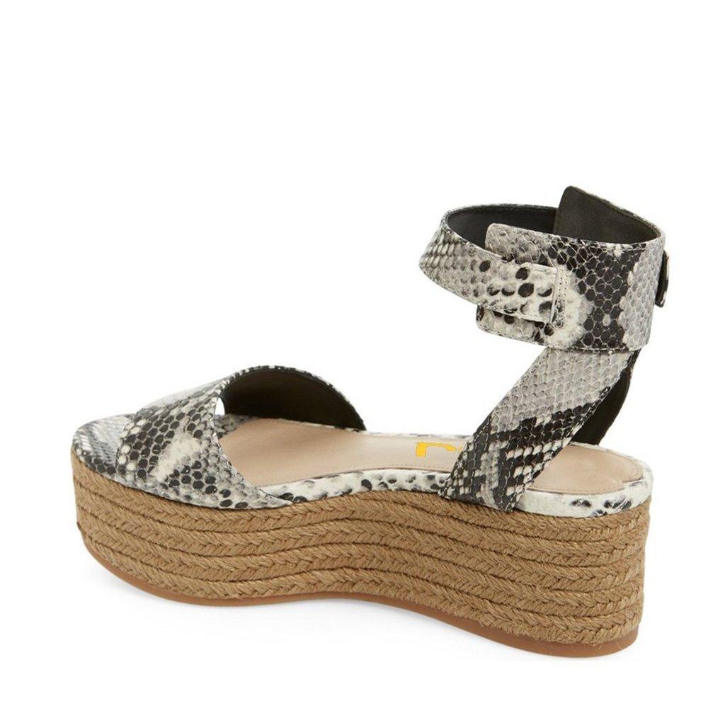FSJ Women Casual Espadrilles Wedges Shoes Open Toe Slingback Sandals with Platform Size 8 Snake by FSJ (Image #2)