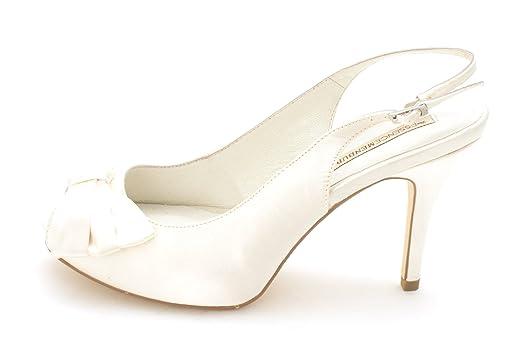 Menbur Womens 06259X804 Peep Toe SlingBack Classic Pumps Ivory Size 7.5
