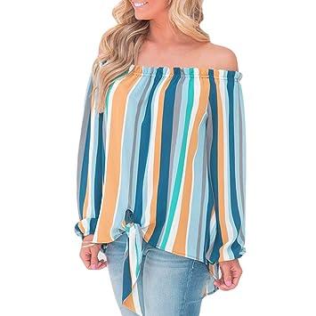 Wawer camiseta de manga larga para mujer, chica clásica camiseta de hombro a rayas,