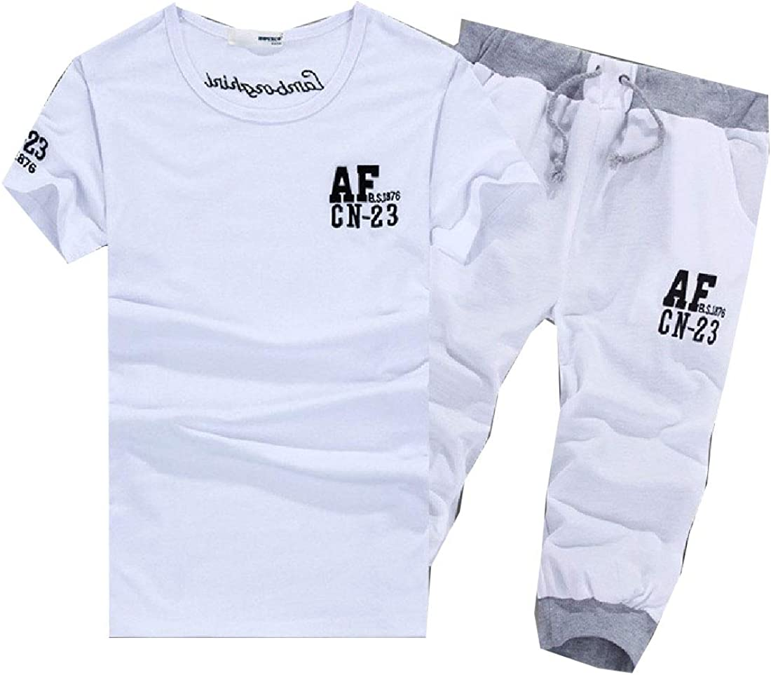 Abetteric Mens Tee and Shorts 2 Piece Sport Letter Sport Suits Tracksuits