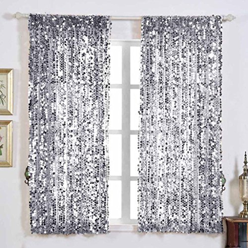 - Efavormart 2 Panels Silver Big Payette Sequin Room Darkening Window Treatment Panel Drapes With Rod Pockets 52