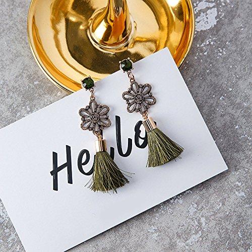 High-Season MENGJIQIAO 2017 Vintage Accessories Rhinestone Crystal Alloy Flower Tassel Earrings For Women Brincos Statement Long Earrings (Green) ()