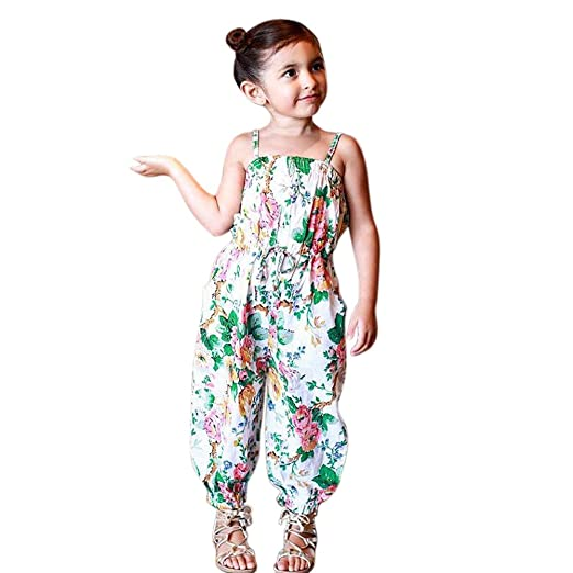 8022014ab609 Amazon.com  EITC Little Girls Toddlers Floral Straps Jumpsuits ...