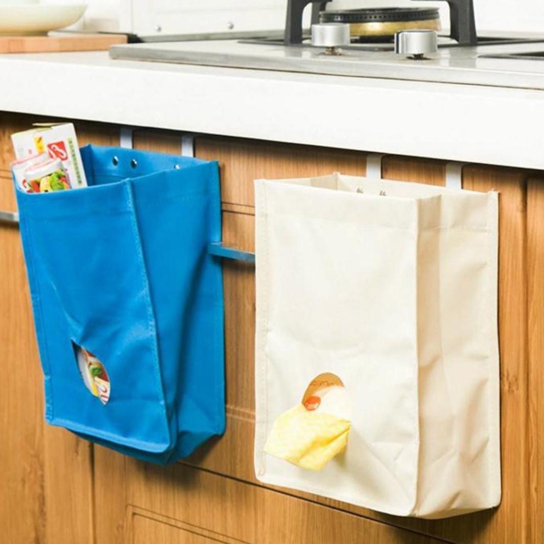 White Molyveva Kitchen Cupboard Garbage Hanging Storage Bag Home Bathroom Holder Organizer 9.06x3.94x10.43
