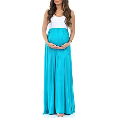 6d27c41b8e872 Women's Sleeveless Ruched Color Block Maxi Maternity Dress - Made in USA  (Small, GreenTopazWhite