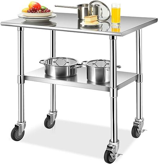 COSTWAY Mesa de Trabajo Acero Inoxidable Cocina con Ruedas Mesa ...