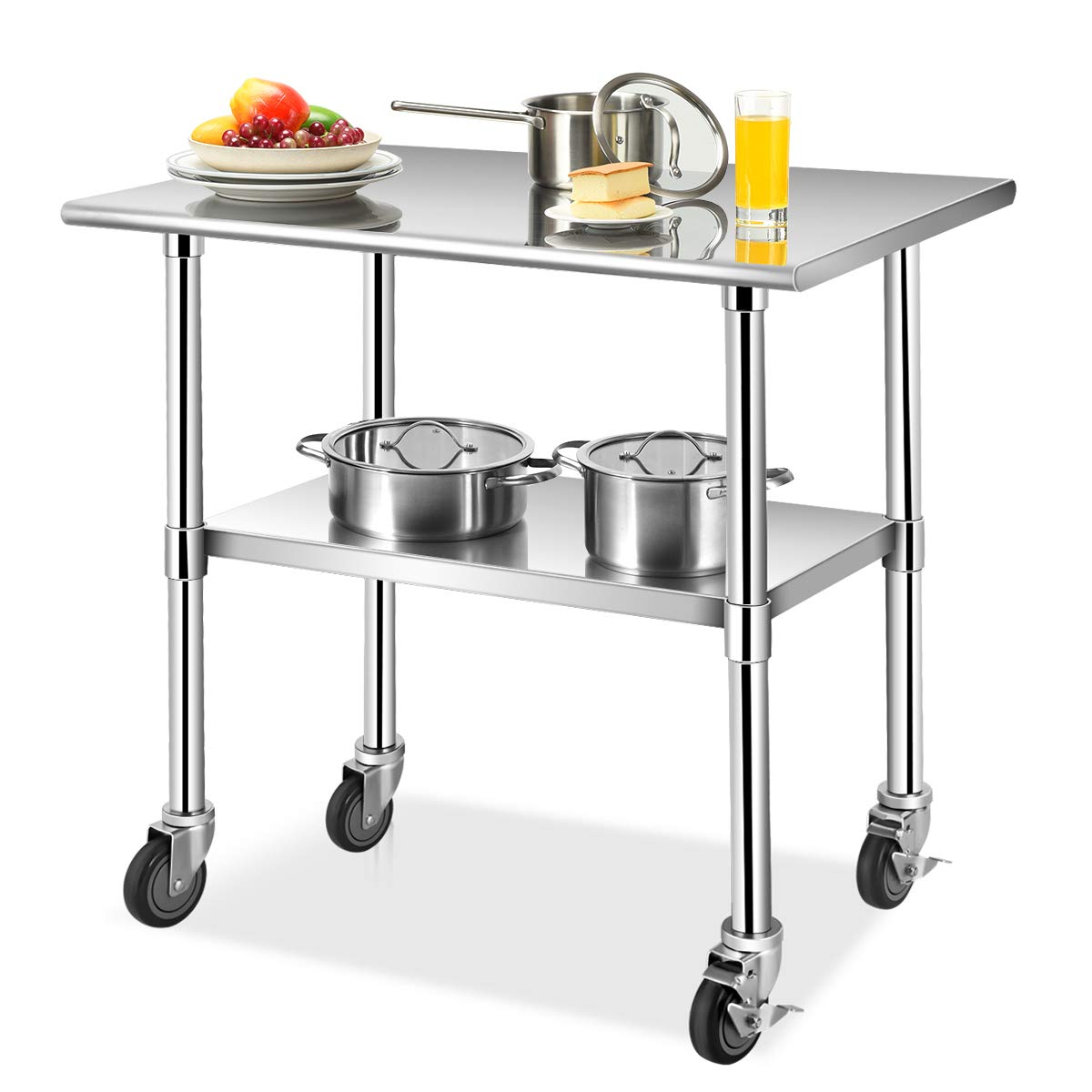 Giantex 36In×24In Kitchen Prep Table NSF Stainless Steel Work Table with Adjustable Shelf, Commercial-Grade Table with Wheels and Scratch-Resistant Table Top