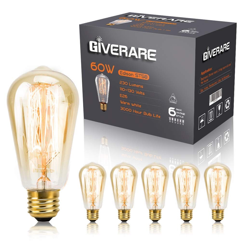 GIVERARE 6-Pack Antique Vintage Edison Bulbs, Incandescent Light Bulbs with Exposed Filament, Copper E26/E27 Base Dimmable Warm Light Bulbs for Pendant Ceiling Chandelier Lamps - Amber Glass/60W/110V