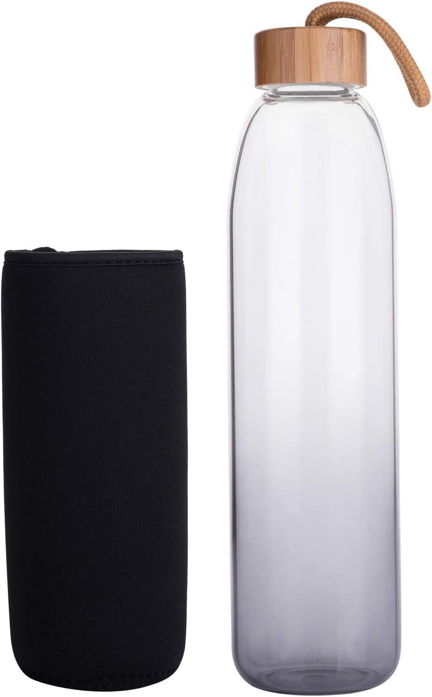 32 oz Life4u Reusable Sport Borosilicate Glass Water Bottle with Neoprene Sleeve BPA Free 16 oz