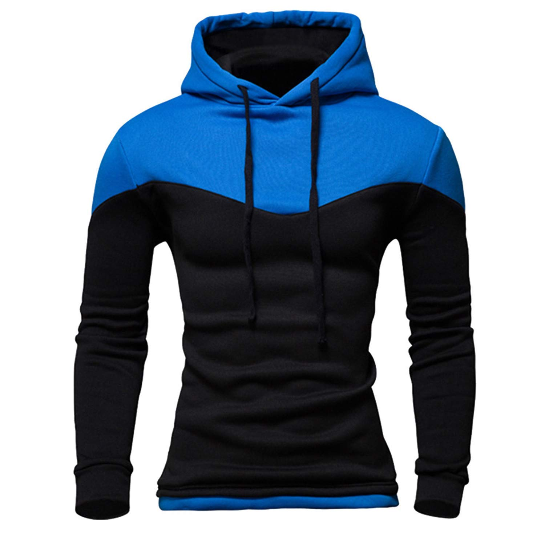 Robert Reyna Trendy Men Hoodies Male Long Sleeve Patchwork SweatMen Sky Blue Black Big Size