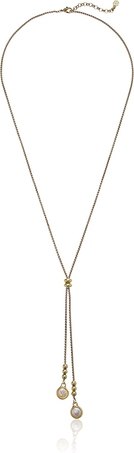 J 115 Y necklace in black chain and white pearls