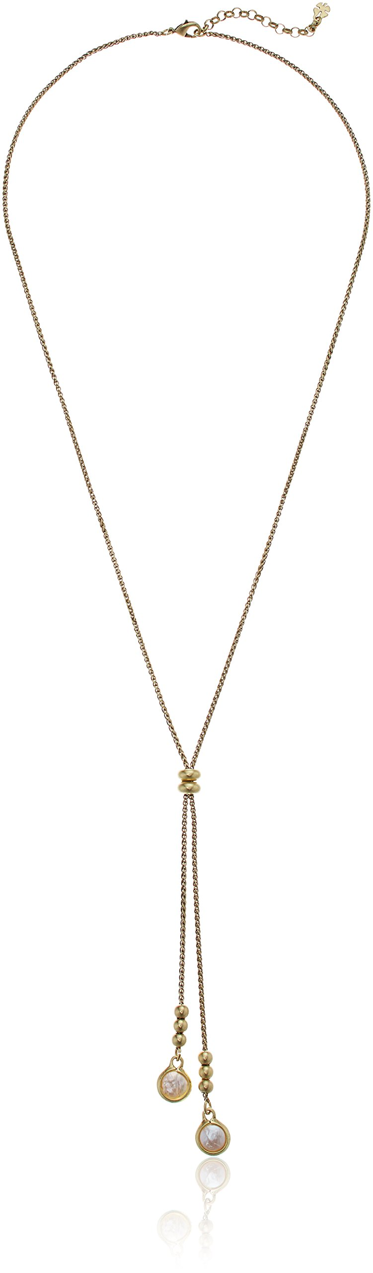 Lucky Brand Pearl Lariat Necklace Gold One Size