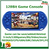 CZT 5 inch Screen 8GB 128Bit Retro Video Games Console Built-in 1300 Games for Arcade NEOGEO/CPS FC/NES,SFC/SNES/GB/GBC/GBA/SMC/SMD/SEGA Handheld Game Console MP3/4 (Blue)