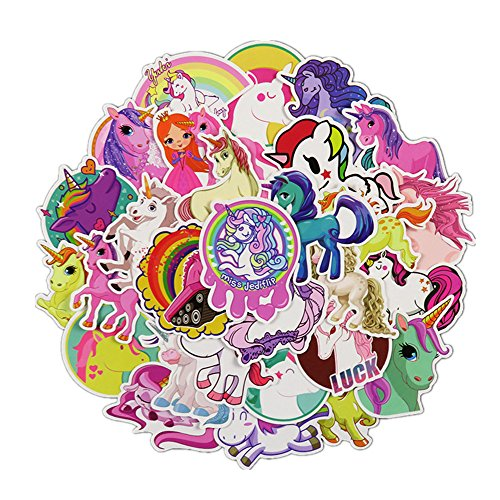 - 30 Pieces Waterproof Vinyl Stickers, Graffiti Sticker for Laptop, Car, Helmet, Skateboard, Luggage Graffiti Decals, DIY Stickers (Unicorn)