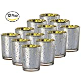 """Illuminate your home or special event with these attractive speckled silver mercury glass votive holders by Royal Imports. These 2"""" shot glass shape candle holders are not filled with wax and will hold a standard votive candle or tealight (wh..."""
