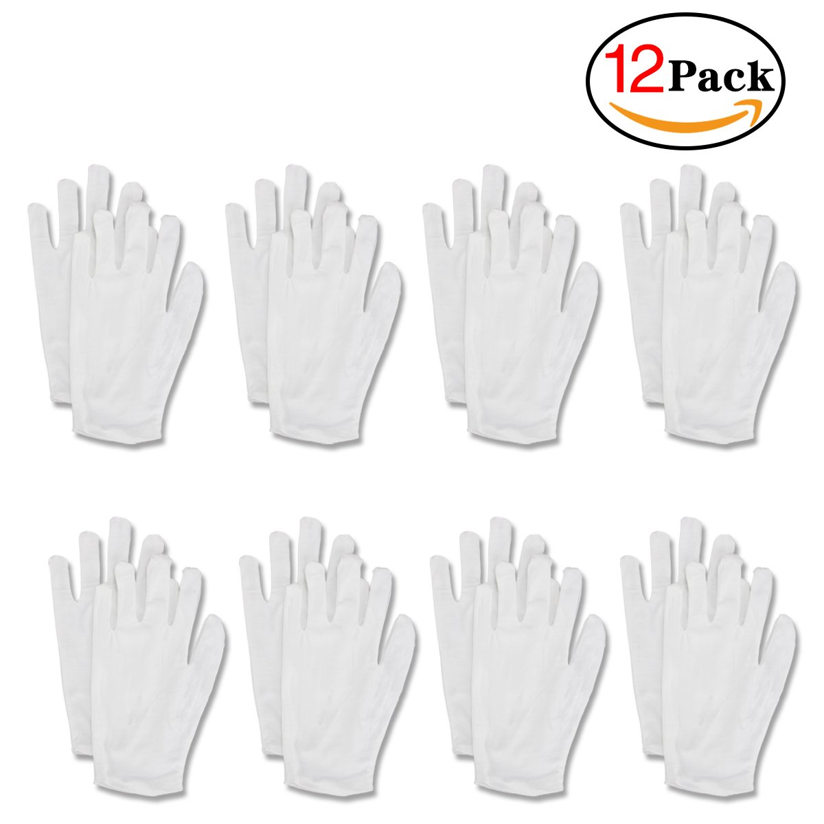 White Cotton Men and Women Gloves 12 Pairs Suitable for Coin Jewelry Silver Inspection Soft White Work Gloves