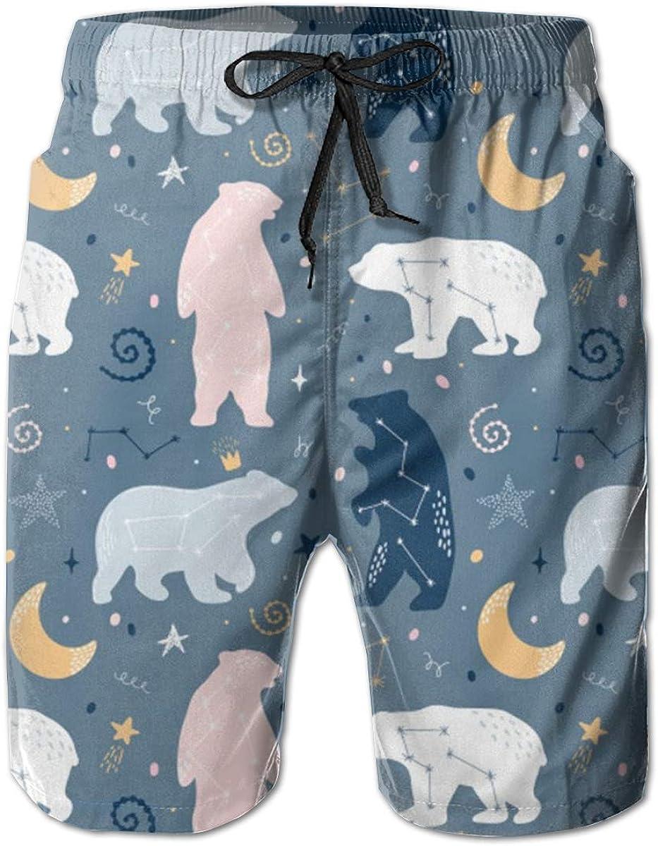 WMDJEG Bears Constellations Mens Summer Beachwear Sports Running Swim Board Shorts Mesh Lining
