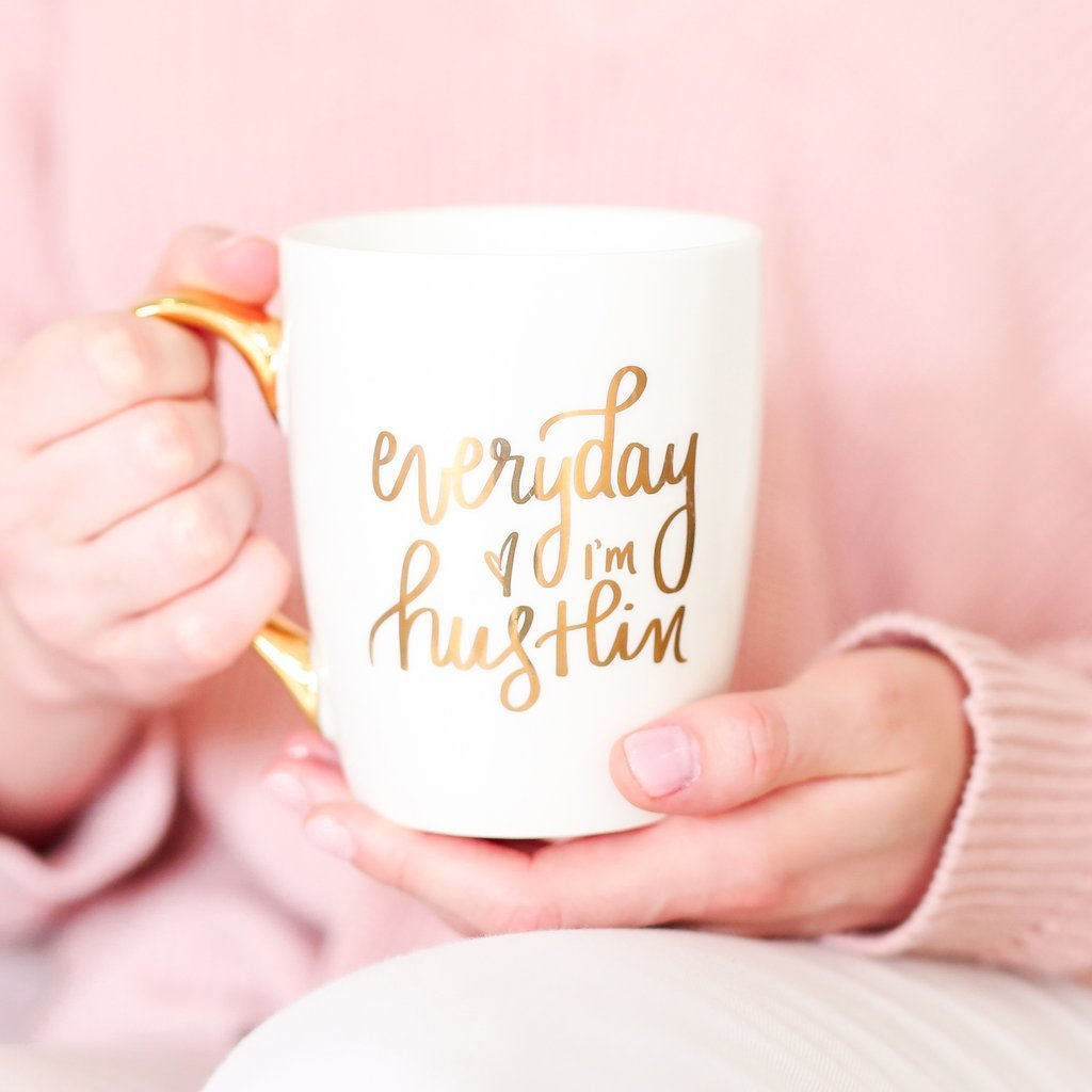 Everyday I'm Hustlin Gold Coffee Mug | Large Fancy Handle Inspirational Cup Cute Motivational Gifts You Got This 16 Ounces Ceramic Fine Bone China Hand Lettered by Sweet Water Decor (Image #2)