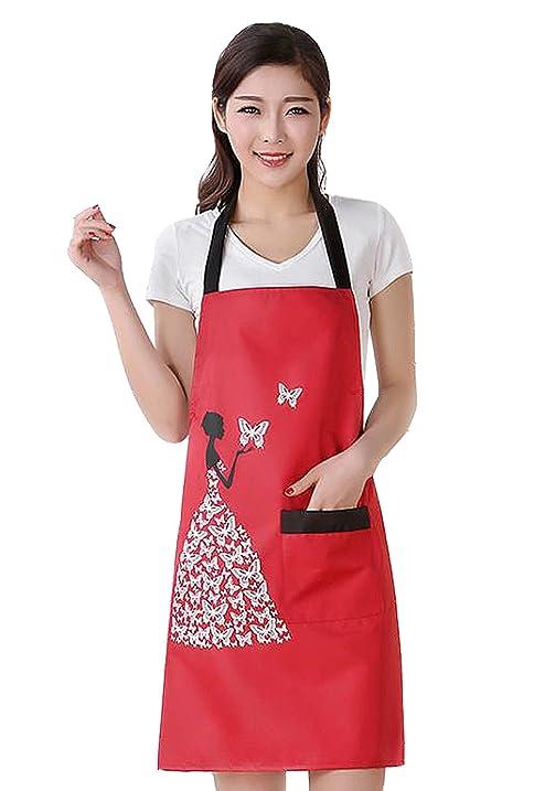 Charmant Moolecole Womens Kitchen Aprons Waterproof Bib Overalls Anti Oil Stain  Adult Sleeveless PVC Butterfly Pinafore